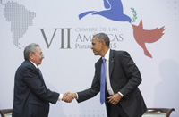 President Barack Obama participates in a pull-aside with Cuban President Raul Castro during the Summit of the Americas Second Plenary Session at the Atlapa Convention Center in Panama City, Panama, April 11, 2015. (Official White House Photo by Amanda Lucidon)   This photograph is provided by THE WHITE HOUSE as a courtesy and may be printed by the subject(s) in the photograph for personal use only. The photograph may not be manipulated in any way and may not otherwise be reproduced, disseminated or broadcast, without the written permission of the White House Photo Office. This photograph may not be used in any commercial or political materials, advertisements, emails, products, promotions that in any way suggests approval or endorsement of the President, the First Family, or the White House.